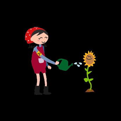 Zeichnung einer blinden Frau mit Giesskanne, die eine Sonnenblume giesst