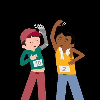 Zeichnung von zwei Sportlern, einer hat eine Armprothese