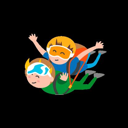 Zeichnung von zwei Fallschirmspringern beim Tandemsprung