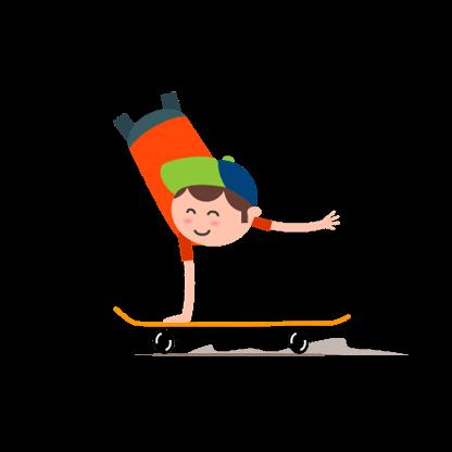 Zeichnung eines Jungen, der einen Handstand auf einem Skateboard macht