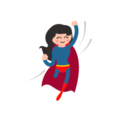 Zeichnung einer Frau im Superheldenkostüm