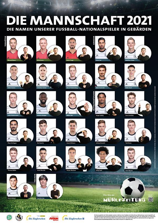 Die Mannschaft bei der EM 2021 - Namen von Fußball-Nationalspielern in Gebärden
