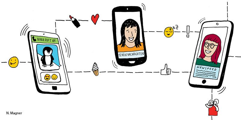 Drei gezeichnete Smartphones zwischen denen Emojis ausgetauscht werden